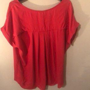 Pleione Tops - Pleione red cuffed sleeve top.
